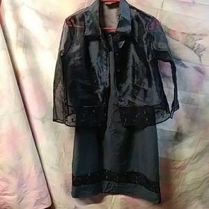 Womens navy dress with light sheer jacket